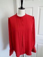 BNWT Biba Costume Drama Red Long Sleeve Piecrust Top Blouse size 16