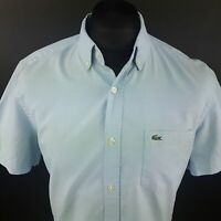 Lacoste Mens Shirt 40 (SMALL) Short Sleeve Blue Regular Fit No Pattern Cotton