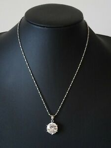 Cubic Zirconia Pendant On 18K White Gold Plated Chain Stamped Italy
