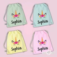 Personalised Any Name Unicorn Girls To Drawstring Bag PE GYM School Kids Pastel