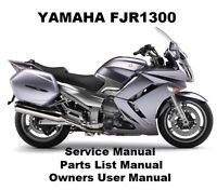 YAMAHA FJR1300 Owners Workshop Service Repair Parts List Manual PDF on CD-R FJR