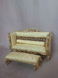 Dolls House sofa chaise footstool window seat hand made French 1:12 scale