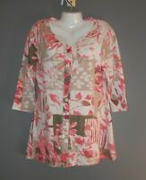 WOMENS PARSLEY & SAGE TUNIC TOP SHIRT SIZE M 3/4 SLEEVE PINK & BEIGE 100% COTTON