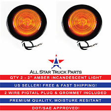 """2"""" Inch Round Side Marker Clearance Truck Light Amber w/ Grommet & Pigtail Qty 2"""