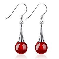 Women's 925 Silver Earrings Red Black Agate Bead Ear Drop Fashion Jewelry