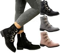 Ladies Womens Studded Buckle Ankle Boots Chelsea Biker Punk Strappy Shoes Size