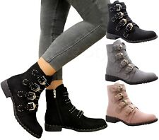 Ladies Ankle Boots Womens Biker Chelsea Punk Studded Buckle Strappy Shoes Size