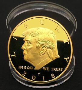 President Donald Trump 24k Gold Plated eagle Commemorative Coin ok