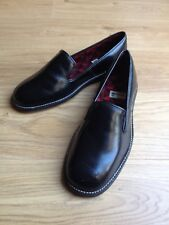 60s vintage black leather slip on loafers by WEARRA size 6.5 Very good condition