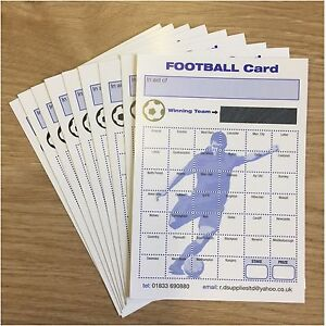 Pack of 10 X FundRaising Charity Event Football Scratch Cards 40 Team