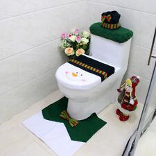 Badezimmer Set Weihnachtsdeko Santa Toiletten Sitzbezug Tank Deckel Teppich