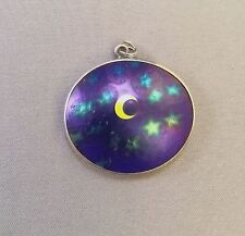 VINTAGE LUNDBERG STUDIOS ART GLASS ECLIPSE MOON STARS NIGHT SKY PENDANT NECKLACE