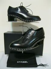 CHANEL Oxford, Lace up Shoes, NEW, Black, Leather, Size 38