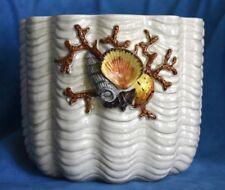 Large Vintage FITZ AND FLOYD Coral Sea Shells Oceana Flower Planter Jardiniere