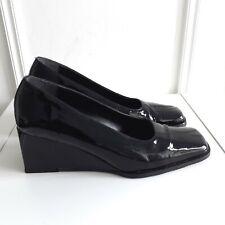 CLARKS Black Patent Leather Square Toe Mod Vtg Style Wedge Court Shoes Sz 6 / 39