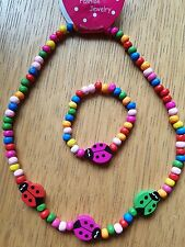 Childrens wooden Necklace and Bracelet..... Lady Bird  UK Seller