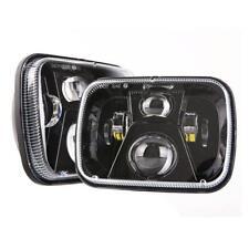 Pair CREE 7''x6'' LED Headlight Hi-Lo Beam Bulb For Jeep XJ H6014/H6054 Black