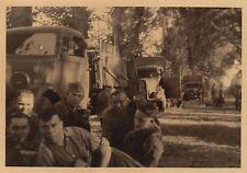 Foto Wehrmacht soldados con camiones comitiva auto acelera en herkenrath 1940 Bélgica