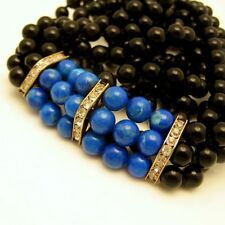 Vintage 3 Strand Glass Beads Long Necklace Faux Onyx and Faux Lapis Gold Plated