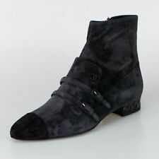 b7a4d390f1 NIB CHANEL Dark Grey Suede Double Buckle Mock Loafer Short Boots Shoes 8/39