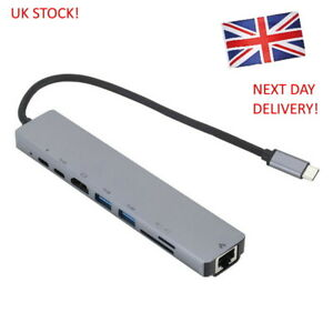 8 in 1 Type-C HUB Converter 4K HDMI 2 USB3.0 USB3.1 USB C PD SD/TF RJ45 Adapter