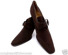 NEW AUTHENTIC Ralph Lauren Dark Brown Suede Classic Pumps Heels Leather Size 6.5