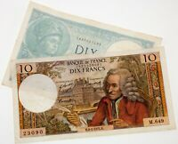 Lot of 2 France Notes (1940 10 Francs and 1971 10 Francs) in VF Condition