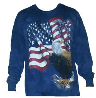 The Mountain Adult Long Sleeve T-Shirt Bald Eagle American Flag Patriotic 3X NWT