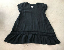 Heart's Desire Mary Grace Tunic Lagenlook Linen Black Short Sleeves Ruffle Large