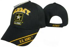 U.S. Army Emblem Black Star Gold Letters on Bill Embroidered Cap Hat (TOPW)