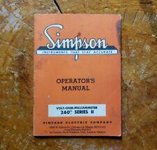 Nice Simpson Model 260 Series Ii Multimeter Operators Manual Volt Ohm 1961