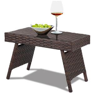 Rattan Garden Wicker Table Sofa Side Coffee End Table Patio Storage Shelf