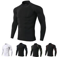Men's Compression Shirt Mock Neck Long Sleeve Moisture Wicking Base Layer Plain