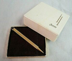 Vintage Mechanical Pencil ANSON TIE BAR CLIP Red Cabochon Goldtone in BOX