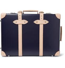 "NWT $2500 KINGSMAN + Globe-Trotter 21"" Pinstripe-Lined Trolley Case Luggage Blue"