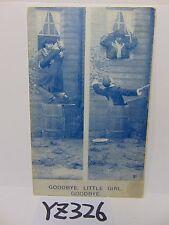POSTCARD 1900'S COMICAL COMIC GOODBYE, LITTLE GIRL GOODBYE GIRL-GUY KISSING