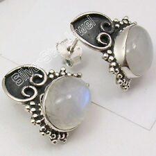 925 Sterling Silver Genuine Rainbow Moonstone Ethnic Lightweight Studs 0.7 Inch