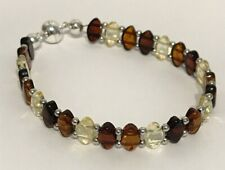 """Baltic Mixed Amber Double Threaded 6.75"""" Bracelet with Sterling Silver Beads"""