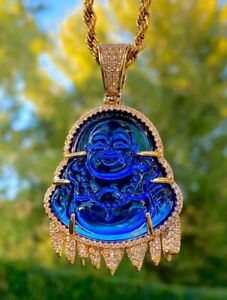 Men's Jade Smiling Icy Dripping Blue Buddha Good Fortune Rope Chain Necklace