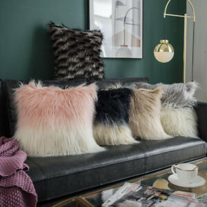 Shaggy Faux Fur Pillow Cases Sofa Throw Waist Cushion Cover Fluffy Plush Cushion