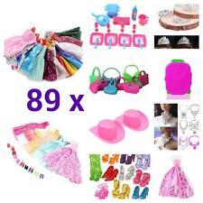 89 x Ragazze Bundle Giocattolo Bambola Barbie VESTITI SCARPE ACCESSORI ABITI VESTITI bc73
