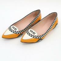 Kate Spade Taxi Ballet Flats Shoes 5M Taxi Yellow Black Patent Leather Caps