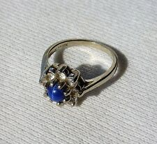Vtg 10K White Gold Ring With Lindy Star Sapphire Size 6