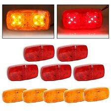 10x Trailer Marker LED Light Double Bullseye 10 Diodes Clearance Lamp Red/Amber
