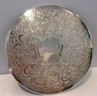 "Vintage Silverplate 9"" Round Etched Serving Trivet Plate Made In England Signed"