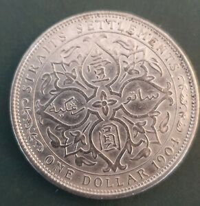 1904 GENUINE STRAITS SETTLEMENTS ONE DOLLAR SILVER EDW VII VF/EF
