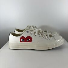 Converse x Comme des Garcons White Chuck Taylor Lows Sneakers Size 8 CDG PLAY