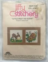 Jiffy Stitchery Little Fawn And Bunny Counted Cross Stitch Kit #1021 Vtg 1981