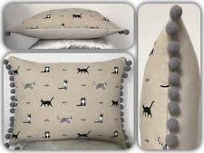 """Feather Boudoir Cushion - Sophie Allport's """"Purrfect"""" Cats (beige) Grey Pompoms"""