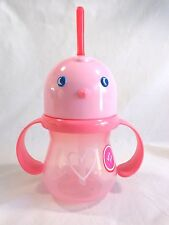 SIPPY CUP With Straw Pink Bird Head with Heart Rotating Handle 2014 Target NEW